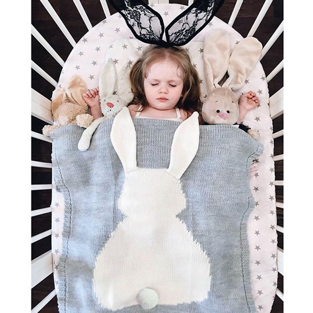2020 INS Hot Sales Super Soft Chunky Knit Picnic Baby Products Knitted Cute Bunny baby Blanket