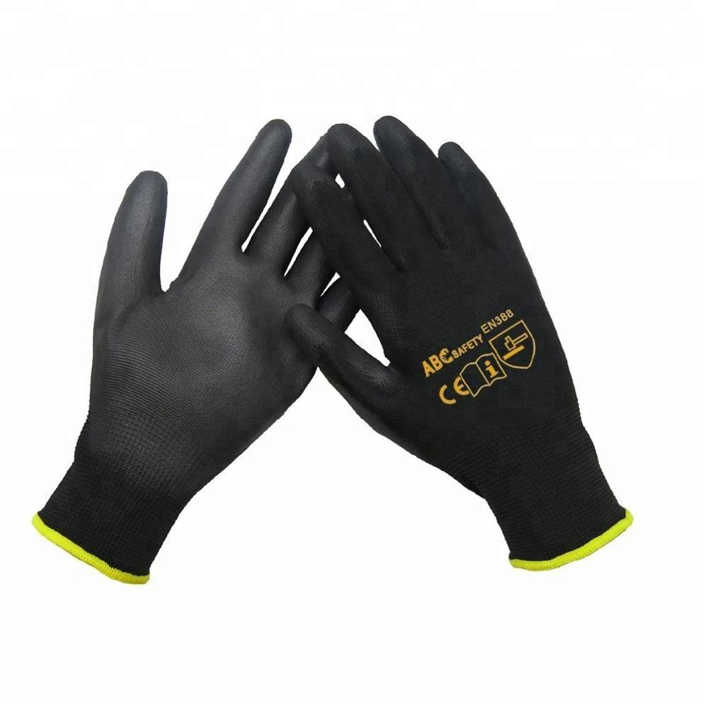 13 Gauge Seamless Black PU Coated Work Gloves CE 3141for Computer Repairing