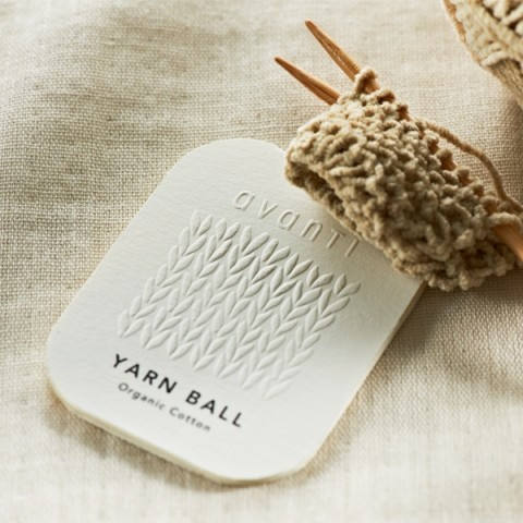 Yarn Ball Embossed Logo Thick White Paper Hang Tag