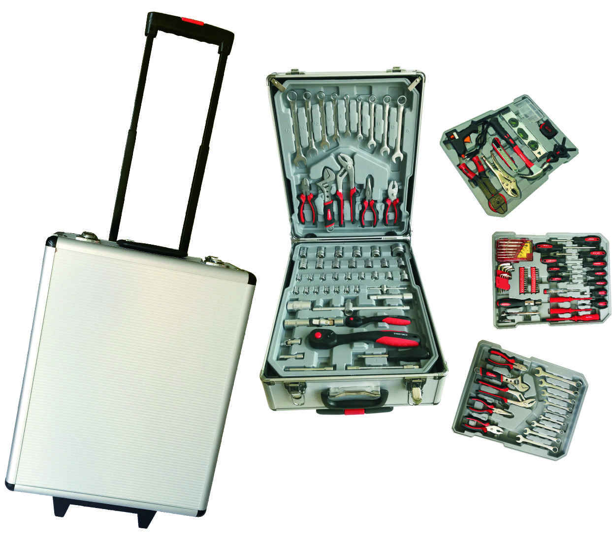 Factory price hot tool set germany design Aluminium Box Package 186pcs tool trolley screwdrive tool wrench set