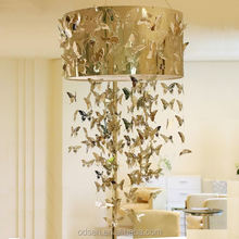 2015 zhongshan modern led golden rope chandelier with butterfly