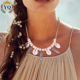 NLX-00838 2019 fashion wood bead natural shell with feather beach style shell necklace feather necklace