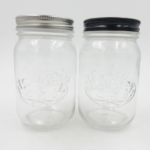 High quality ball shape wide-mouth glass mason jar without handle with embossed logo