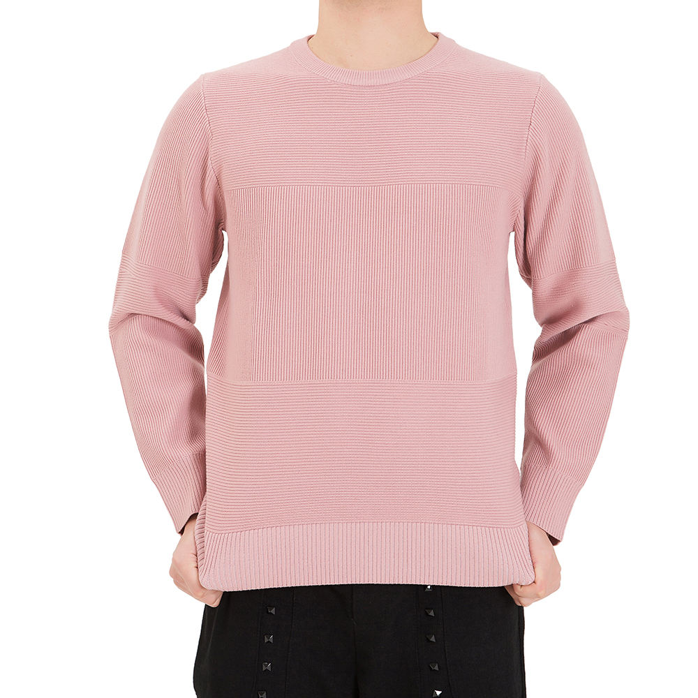 Custom make brand quality acrylic pink color mens knit sweater fashion crewneck ribbed sweater