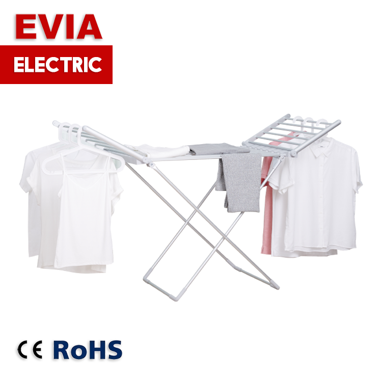 EVIA Balcony aluminium portable folding dryer cloth hanger stand foldable electric heated clothes drying rack for laundry