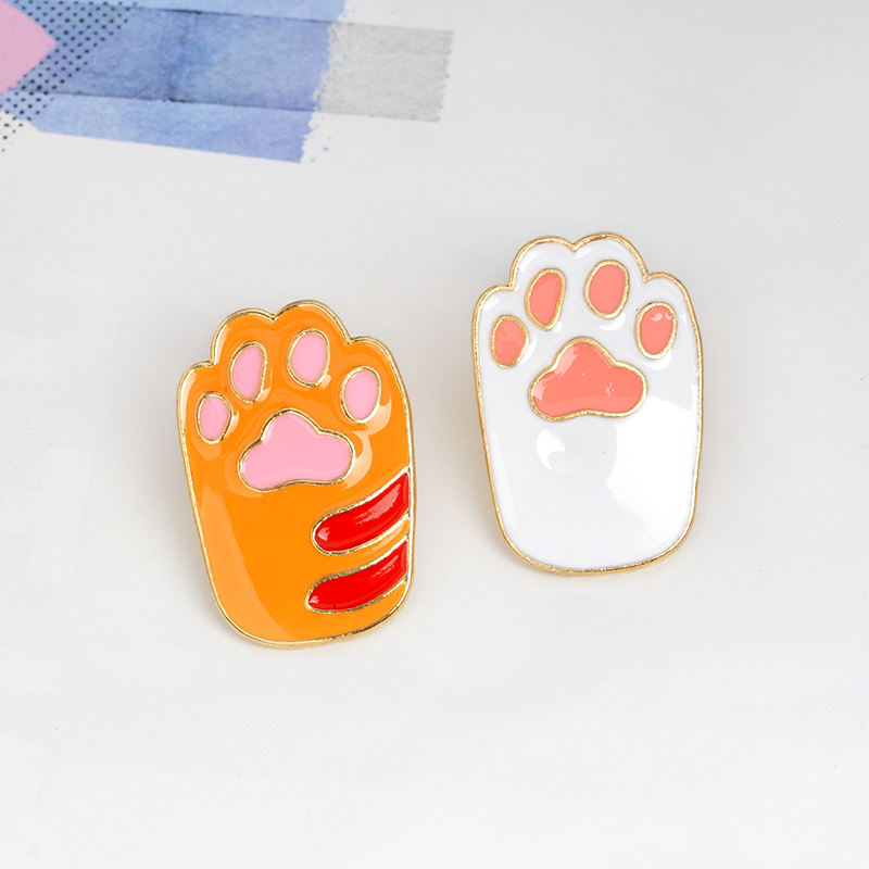QIHE Girls Cute Cartoon Dog And Cat Paw Design Alloy Colorful Brooches