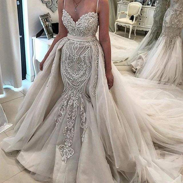 Modest Mermaid Wedding Dress Bridal Gown Lace Pattern Sequin Bride Dresses With Detachable Overskirt