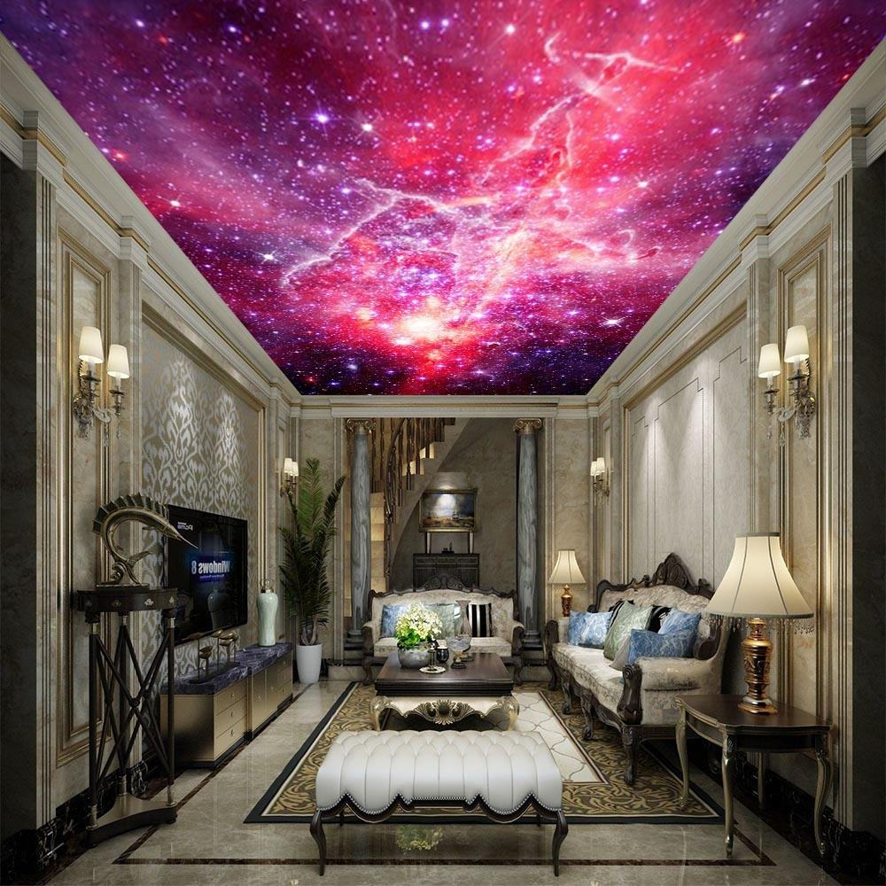 Home Decor Wall Mural Illumination Effect Fabric Tile Pvc Panel Light Design 3d Stretch Ceiling