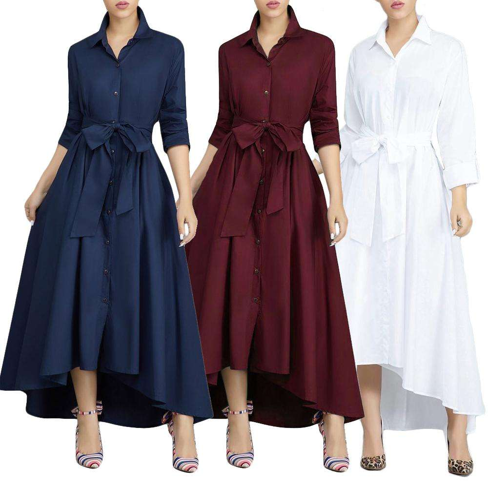 vestidos 2019 EBAY Amazon spring long sleeve Fashion women dresses casual ladies shirtdress with belt long sleeve maxi dress