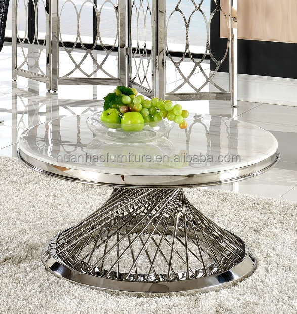Elegant stainless steel bird nest marble top coffee table / center table design