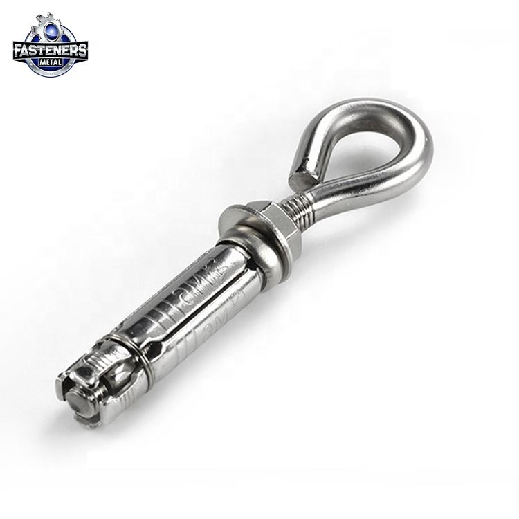Standard size stainless steel concrete closed hook eye bolt heavy duty shield anchor price