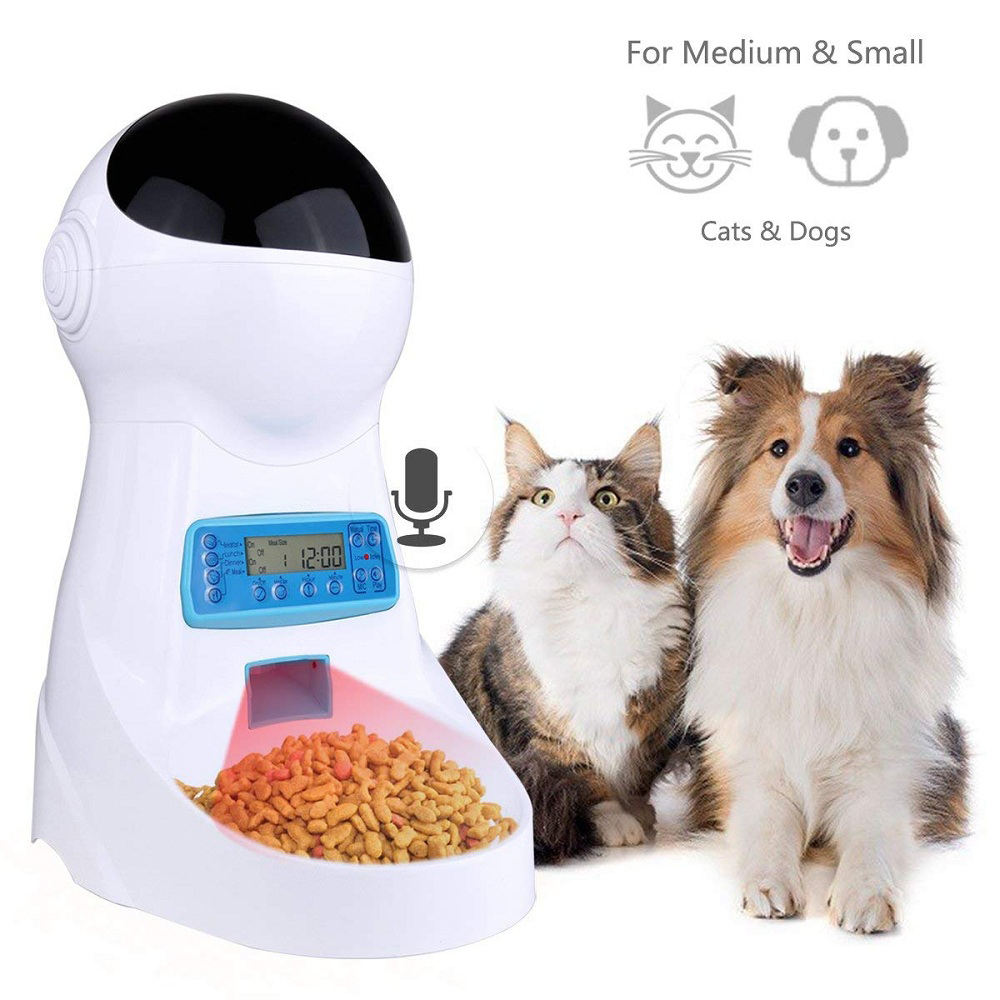 Amazon Top Seller 2019 IR Detect Voice Record Automatic Pet Feeder Dog Cat Food Dispenser for Small Medium Size Pet