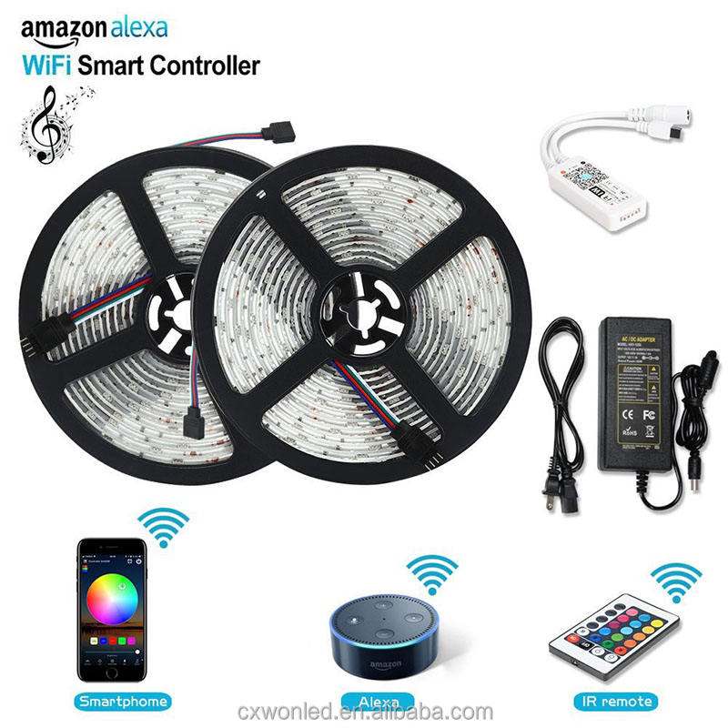 10m 5050 Rgb luz Kit de controlador Wifi inteligente impermeable tira de Led