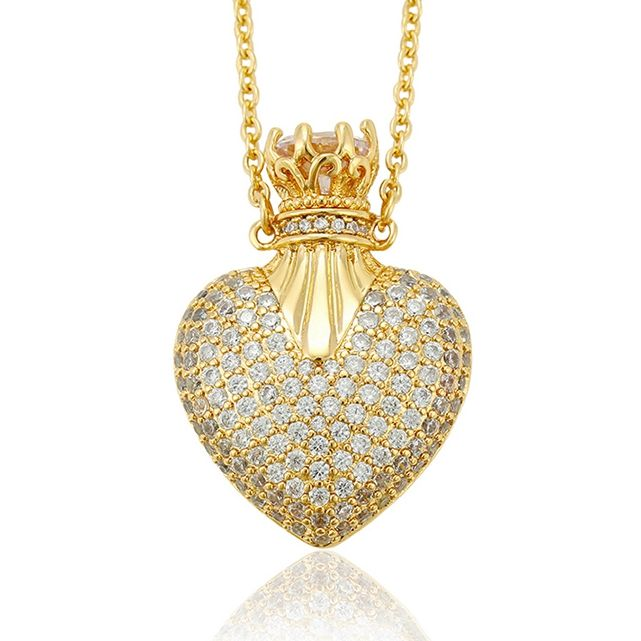44253 Xuping luxury plated 14k gold pendant necklace, crown heart saudi gold plated necklace, diamond jewelry necklaces