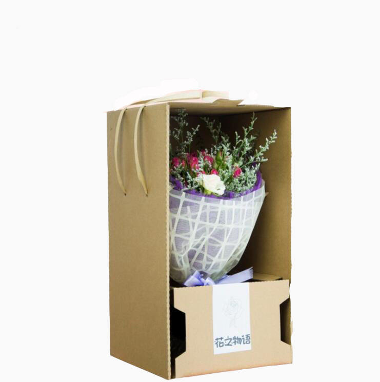 corrugated paper Flower Delivery solution Bouquet Arrangement Carrier floral boxes
