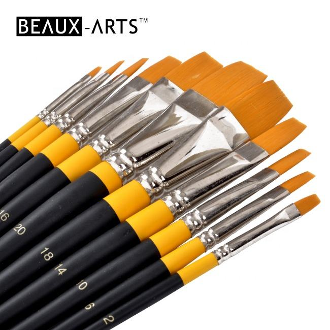 Short Handle Flat Golden Synthetic Hair Acrylic Artist Brush Paint Set
