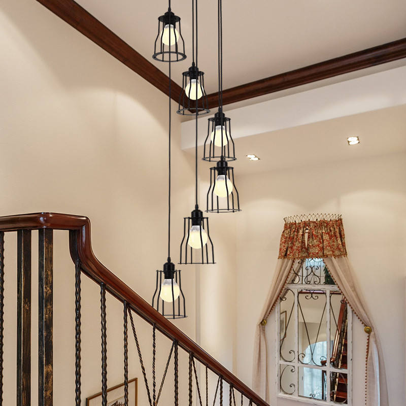 wholesale traditional loft deco used retro industrial classic vintage wrought iron home high ceiling staircase black chandelier