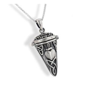 "Celtic Knot Claddagh Perfume Vial - Poison Jar - Urn Pendulum Pendant w/ 18"" Necklace"