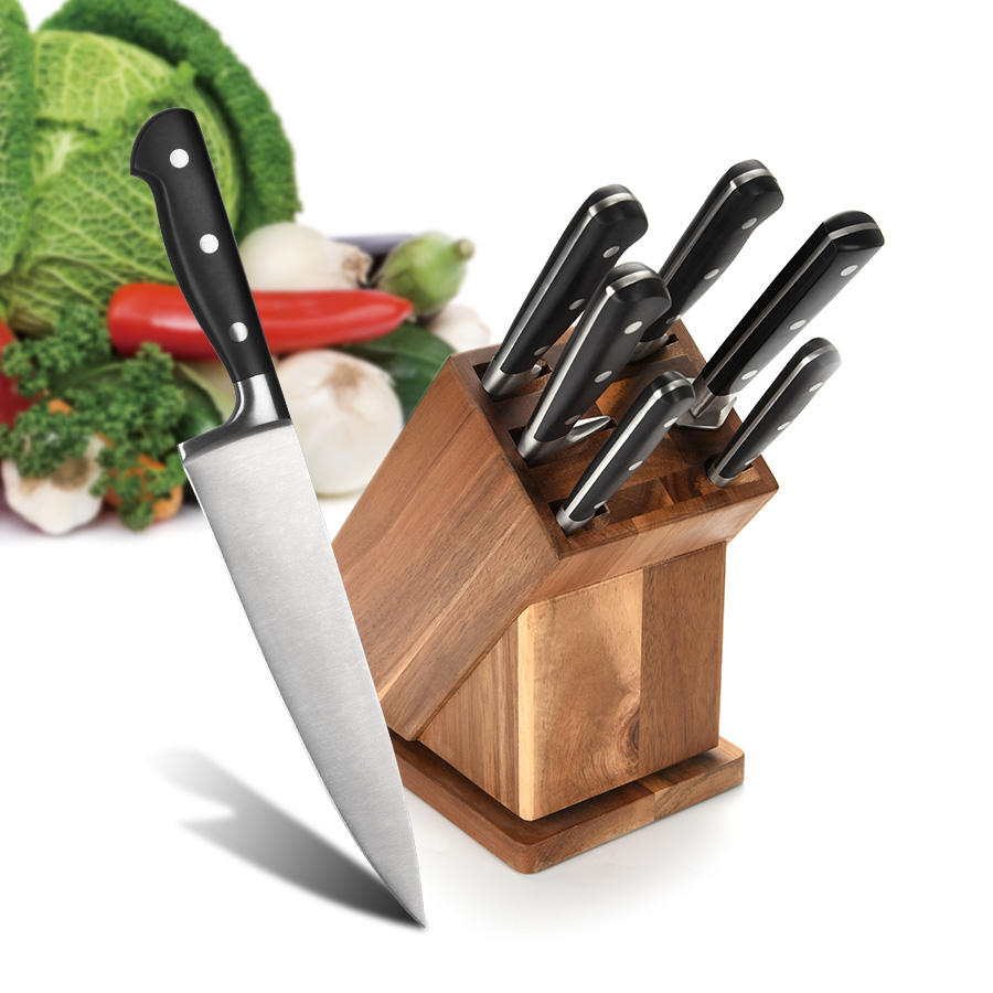 7PCS Kitchen Knife Set Rotatable Block Set for Recipe and Ipad