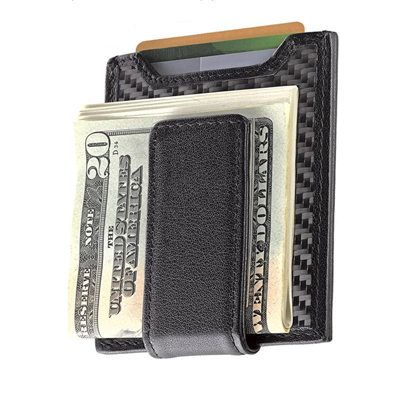 Fashion -Secure -Slim -Carbon -Fiber- Money- Clip- Wallet, RFID- protection -Card Holder