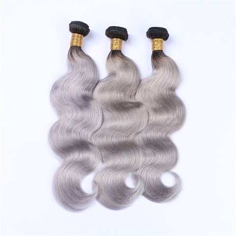 New arrival Malaysian remy hair ombre silver grey body wave hair weaving 1b/gray two tone Malaysian Virgin human hair