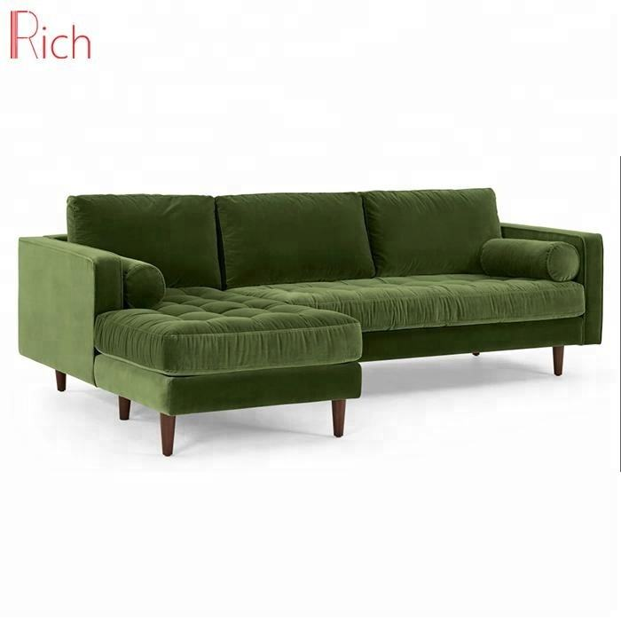 Modern Grass Olive Green Corner Sofa Set Cotton Velvet Made Chaise Lounge Couch Set