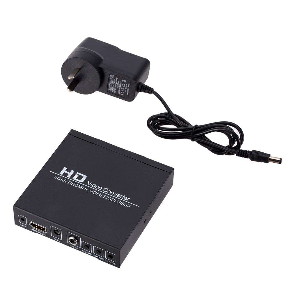 SCART + hdmiTo hdmi HD Video Converter Box 720 P 1080 P 3.5mm 동축 Audio Out