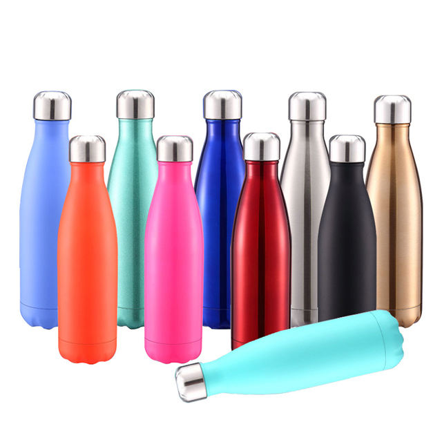 Free Sample Coca 750ml 500ml Sublimation Cola Shape Stainless Steel Water Bottle