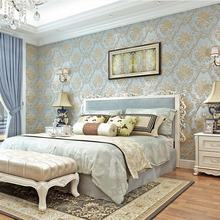 high-end pale blue vintage luxury European stereo wallpaper 3d roll for bedroom,living room,hotel and beauty salon