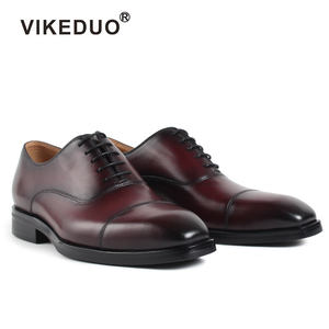 Vikeduo Cap Toe Dress Shoes Patina Red Genuine Leather Oxfords Men New Design Name Brand Wholesale Shoes From China