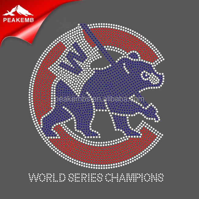 Cubs World Series Champions Baseball Rhinestone Hot Fix Iron On Transfer