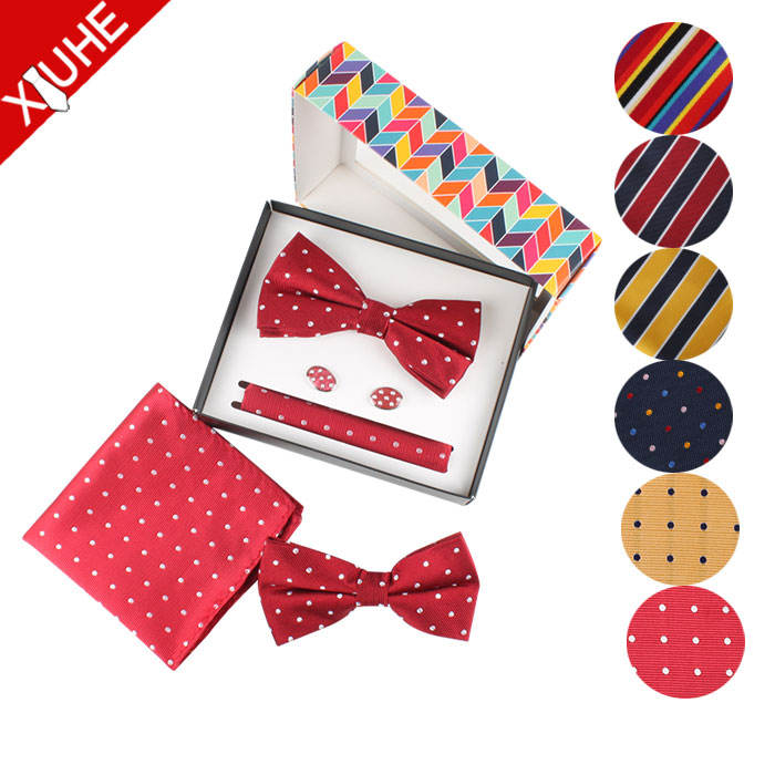 Wholesale African Fashion Wedding Bow Ties Children Customized Pocket Square Handkerchief Bowties Bow Tie Sets for Men