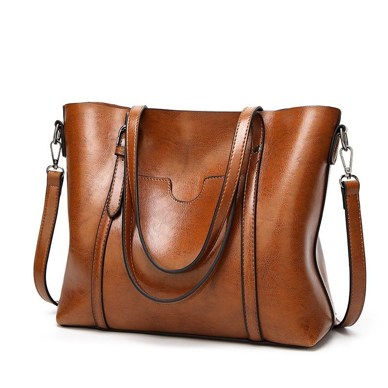 PU Casual Tote Bag Handle Bags with Slide Zipper Shoulder Tote Bag for Women