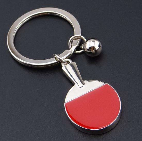 Promotion Gift laser logoTable Tennis Racket Shape Metal Key Chain