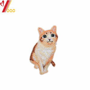 3D embossed custom clothing garment applique cat animal embroidered self-adhesive patch