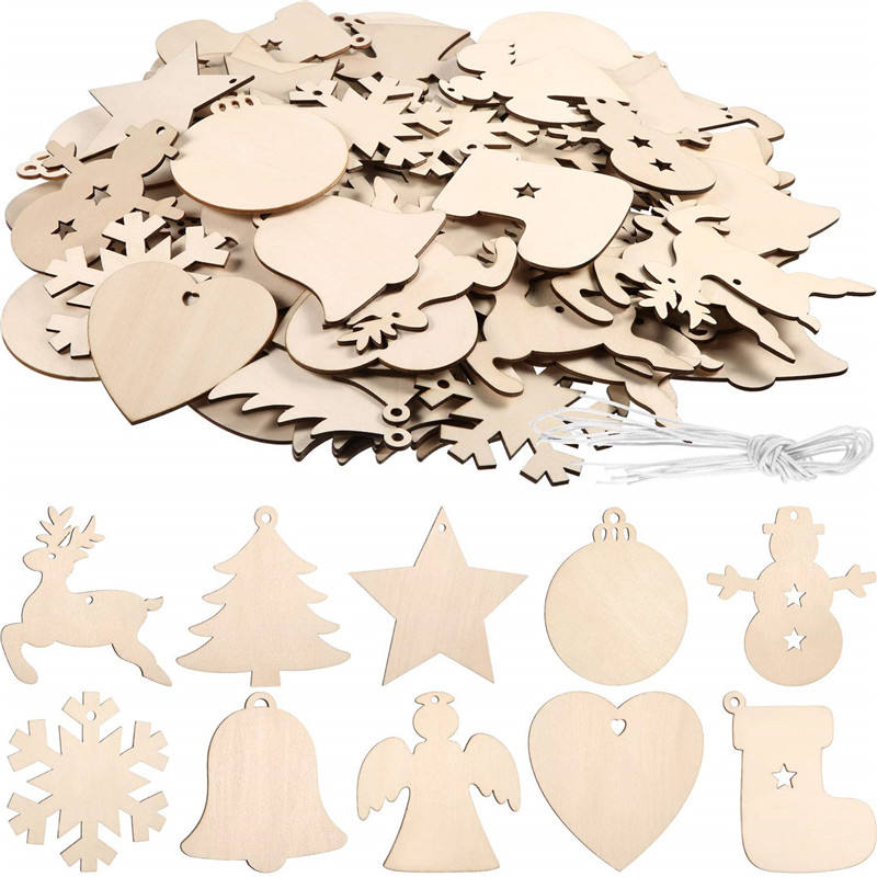 Wanuocraft Children DIY Blank Hanging Ornaments Xmas Wood Decoration Wooden Christmas Tree Ornaments