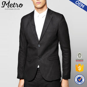 Poliéster Skinny Fit Tailored Suit Jacket Mens Blazer Barato