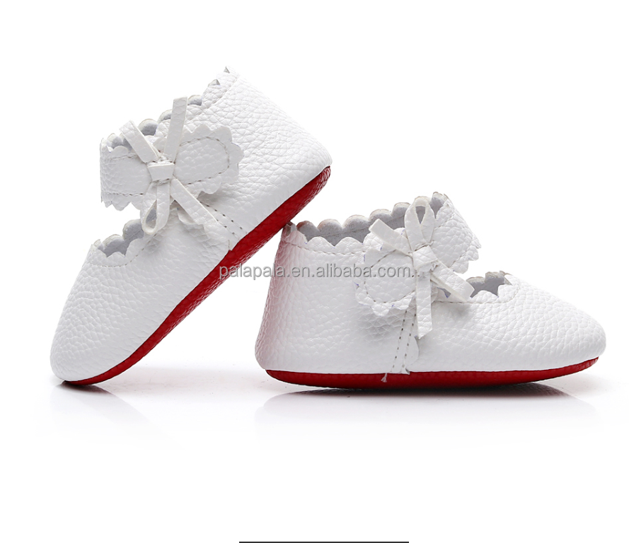 2018 Newborn soft Pu leather girls moccasins strap bow baby girls shoes
