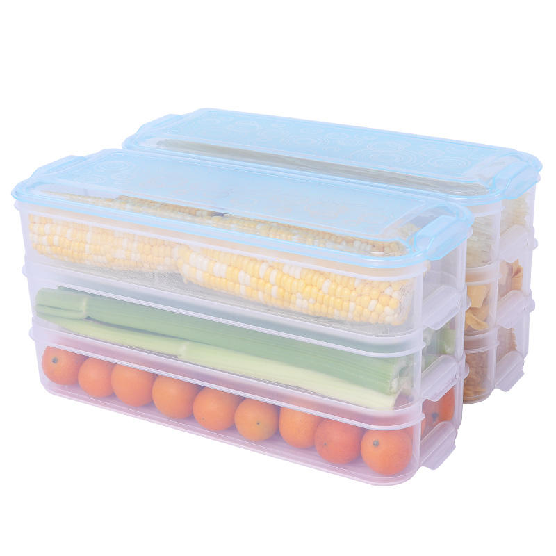 Haixin Kitchen 3 Layer Plastic Reusable Refrigerator Box Food Storage Container With Lid For Noodle And Seafood