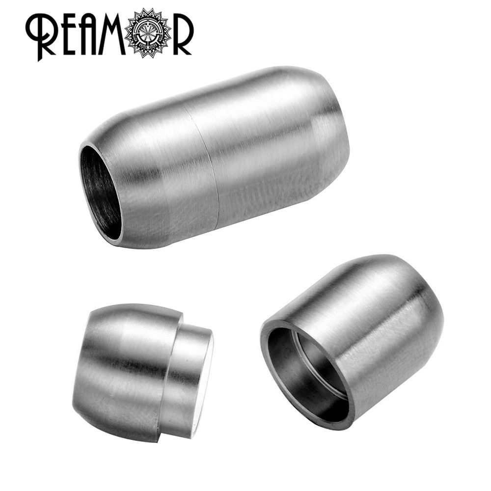REAMOR Jewelry Findings Hole Size 8mm 316l Stainless Steel Leather Bracelet Magnetic Clasp DIY Jewelry Magnet Hook Wholesale