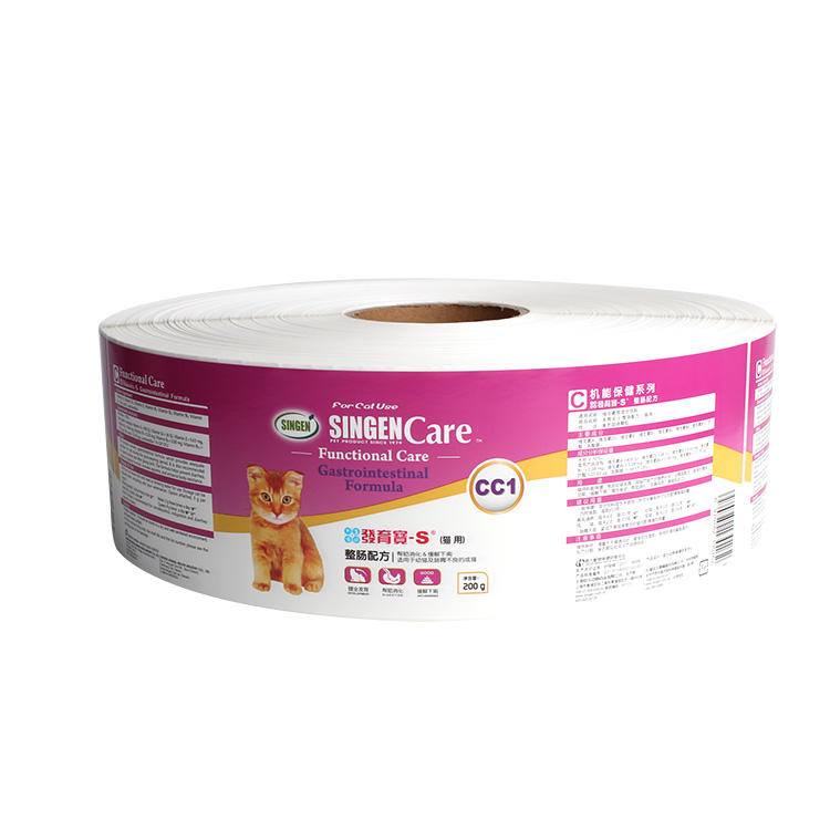 Custom Printing PET Food Label Adhesive Synthetic Paper Packaging Label Sticker Roll