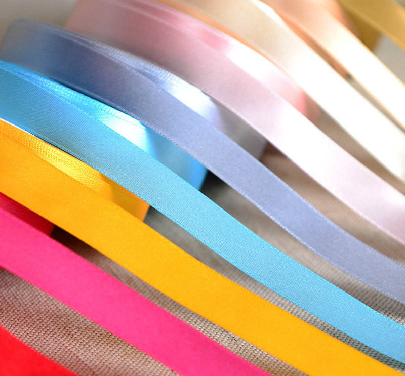 Nylon polyester colorful elastic reversible Satin Ribbon