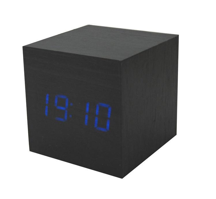Zogift 창조적 인 나무 디지털 LED 밤 빛 스누즈 알람 시계 나무 데스크탑 침대 옆 온도 백라이트 알람 시계
