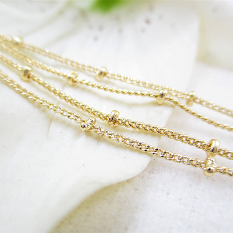 NANA high quality 24k italian gold filled chain, 1.2mm round bead gold chain