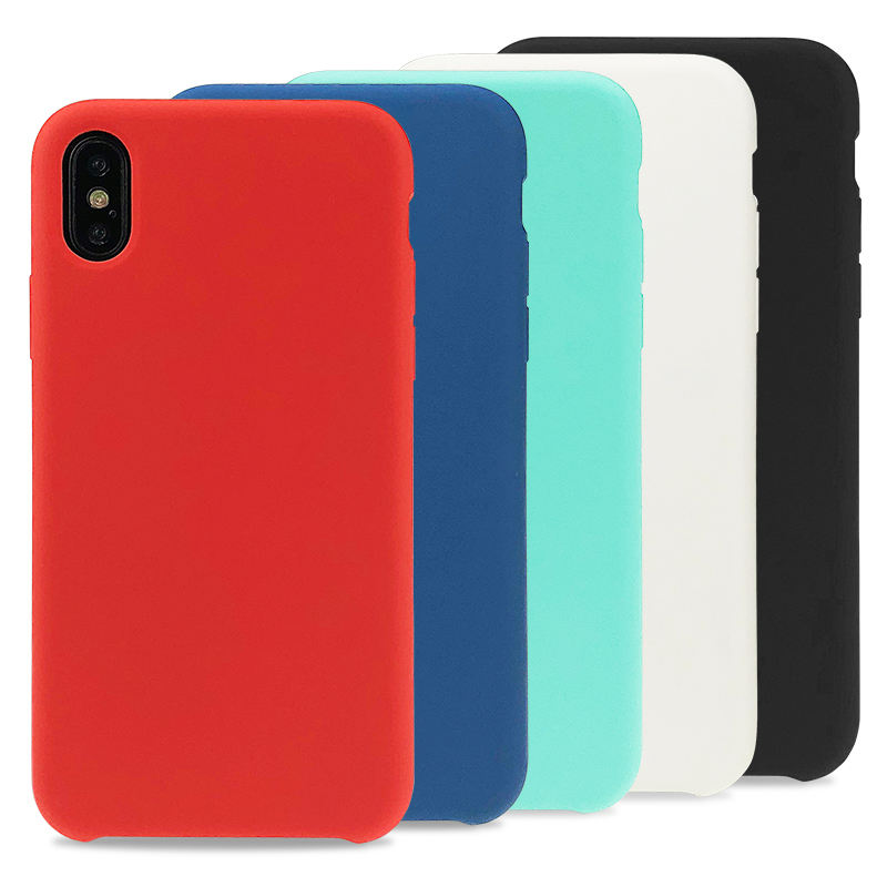 For iPhone X XS Antifouling Microfiber Cloth Lining Cushion Liquid Silicone Phone Case