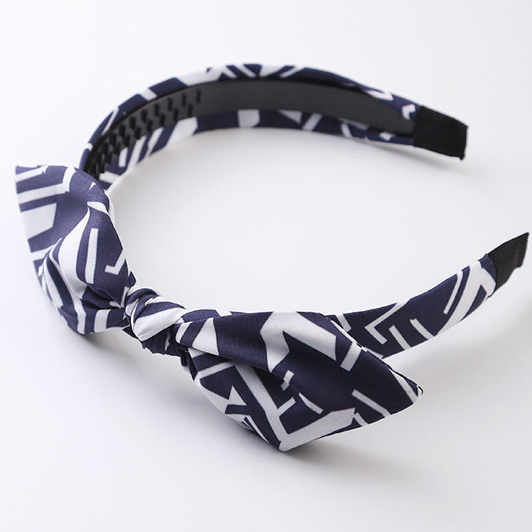 Wholesale Women Hair Accessories Fashion Aztec Geometric Fabric Covered Cat Ear Knot Headband