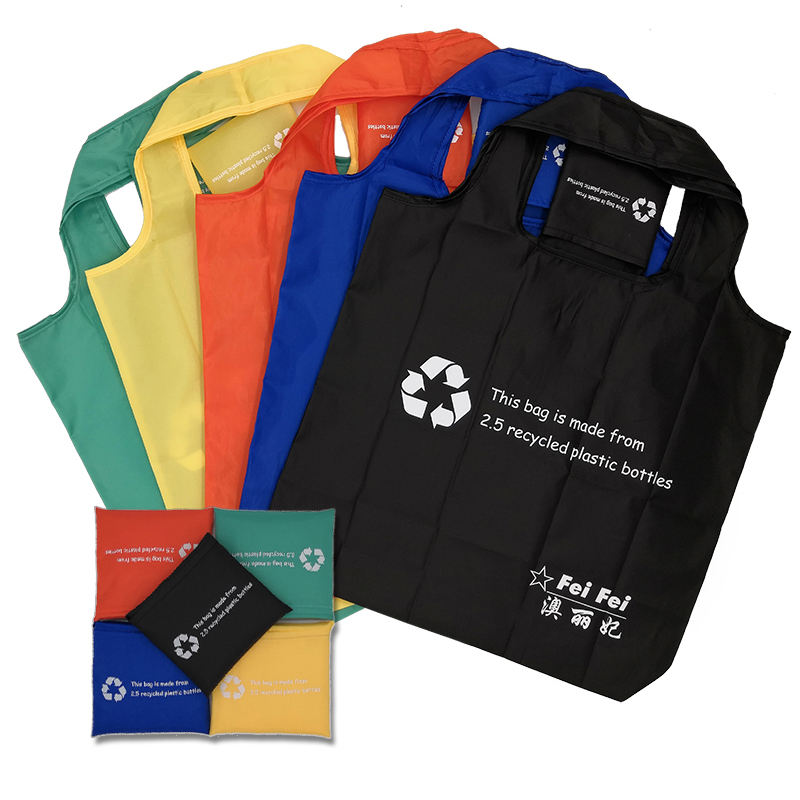 Custom Logo eco friendly RPET polyester market folding bag recycled foldable grocery shopping bag