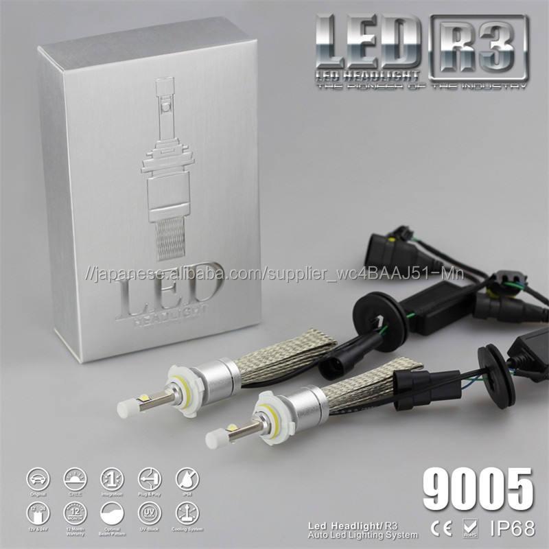 カー バイク 車用LEDヘッドライトバルブ 9005 9600LM(2*4800LM) 6000Kホワイト 車検対応 9-30V対応 IP68防水 360°ビーム角度 12V/24V兼用 無極性タイプ 高輝度 2個セット 一年保証付き
