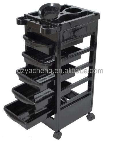 five drawer NEW PP plastic good quality rolling black and red salon trolley hairdressing