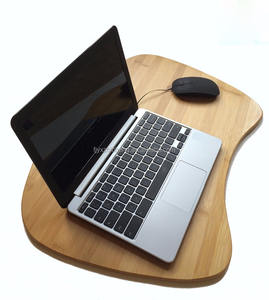 100% Natural Bamboo Portable Laptop Table Tray with Pillow Lap Desk for Laptop Computer